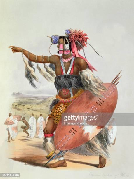 Zulu warrior Utimuni nephew of Chaka the late Zulu king 1849 Plate 13 from The Kafirs Illustrated by George French Angas Artist George French Angas