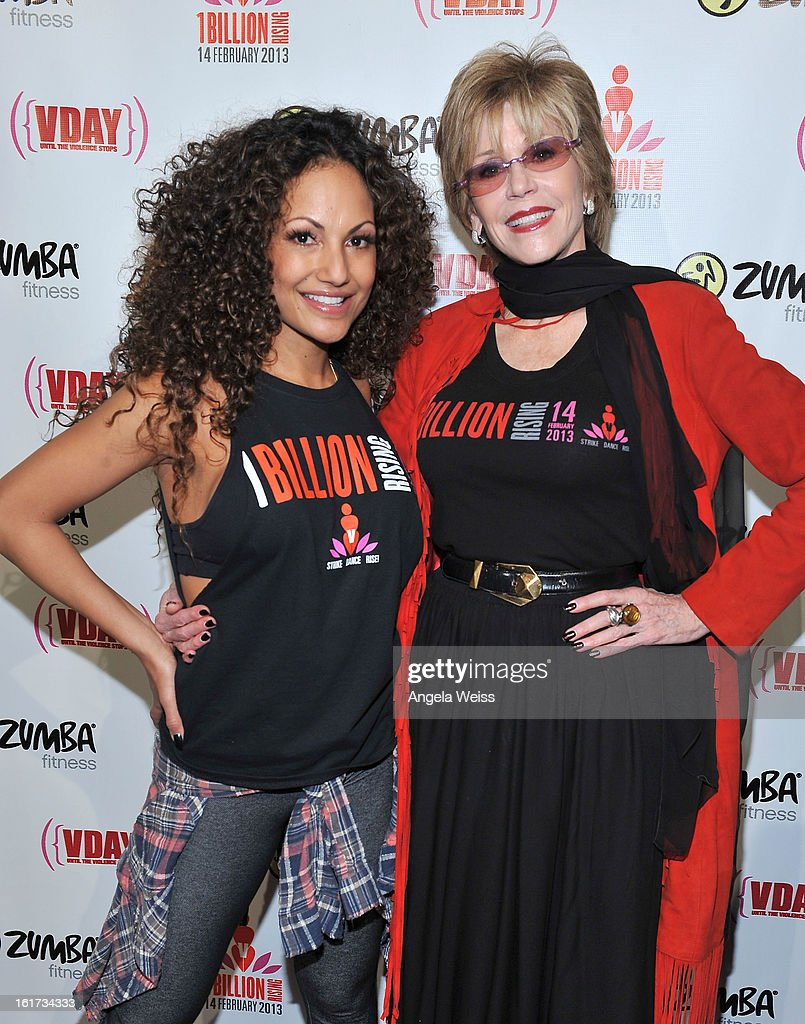 Zumba celebrity instructor Gina Grant and actress Jane Fonda attend One Billion Rising-Rise with V-Day and Zumba Fitness, One Billion Rising, a Global Day of Action to End Violence against Women and celebrate V-Day's 15th Anniversary at LA Live on February 14, 2013 in Los Angeles, California.