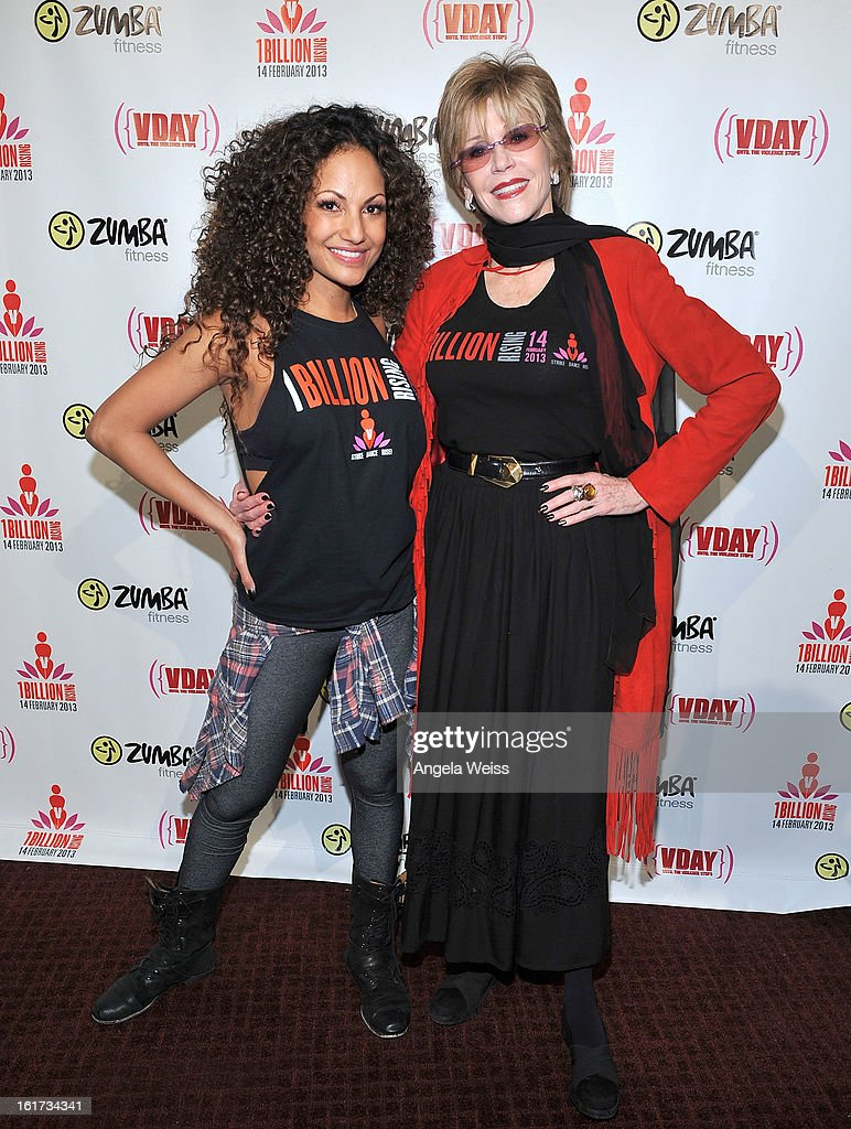 Zumba celebrity instructor Gina Grant and actress <a gi-track='captionPersonalityLinkClicked' href=/galleries/search?phrase=Jane+Fonda&family=editorial&specificpeople=202174 ng-click='$event.stopPropagation()'>Jane Fonda</a> attend One Billion Rising-Rise with V-Day and Zumba Fitness, One Billion Rising, a Global Day of Action to End Violence against Women and celebrate V-Day's 15th Anniversary at LA Live on February 14, 2013 in Los Angeles, California.