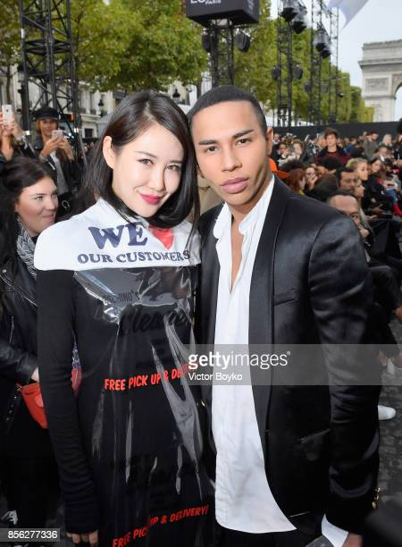 Zuo An Xiao and Olivier Rousteing attend Le Defile L'Oreal Paris as part of Paris Fashion Week Womenswear Spring/Summer 2018 at Avenue Des Champs...