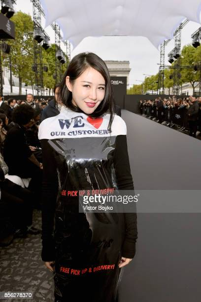 Zuo An Xiao attends Le Defile L'Oreal Paris as part of Paris Fashion Week Womenswear Spring/Summer 2018 at Avenue Des Champs Elysees on October 1...