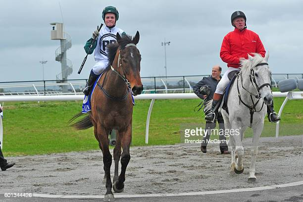 Zupa Hero ridden by Anthony Boyd returns to the mounting yard after winning Rochelleâs Hens Party Maiden Plate at Racingcom Park Synthetic Racecourse...
