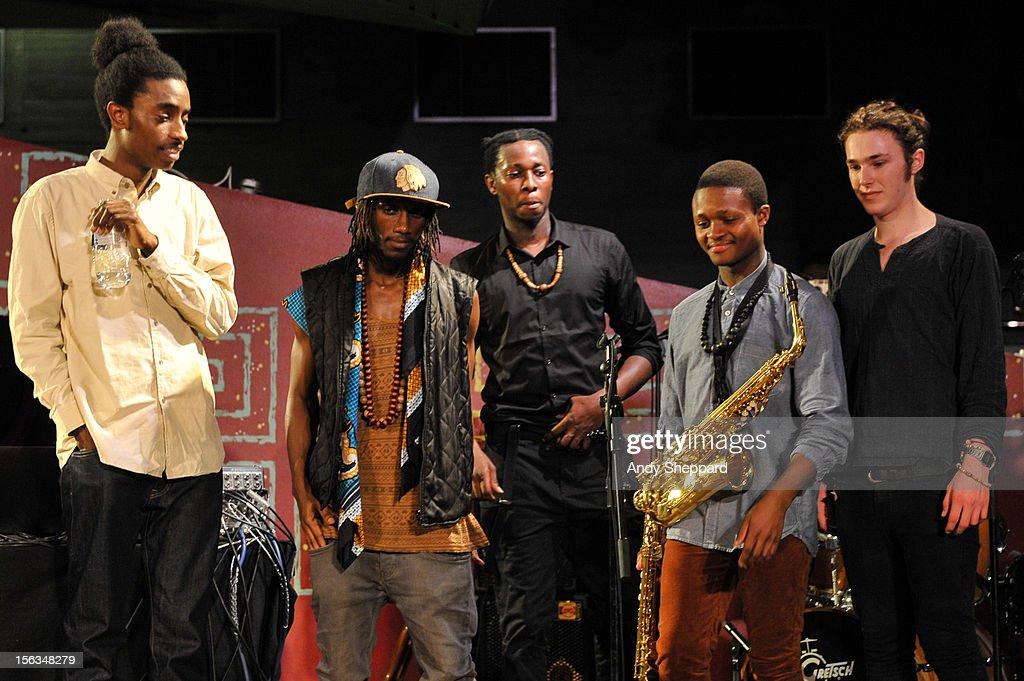 Zuri Jarrett-Boswell, Tile Gichigi-Lipere, Chibike Odukwe, David Turay and Jamie Benzies of the band Psylus on stage during the London Jazz Festival 2012 on November 13, 2012 in London, United Kingdom.