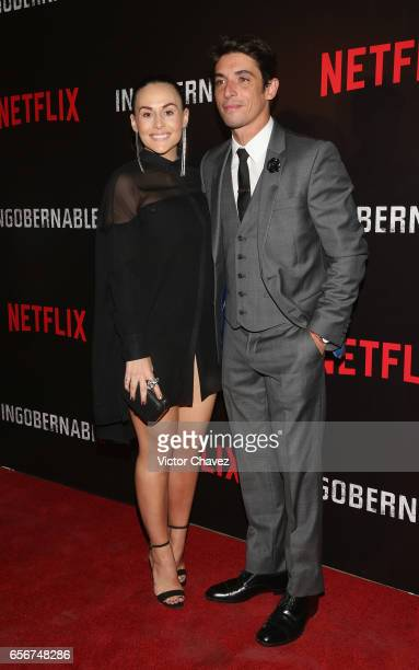 Zuria Vega and Alberto Guerra attend the launch of Netflix's series 'Ingobernable' red carpet at Auditorio BlackBerry on March 22 2017 in Mexico City...