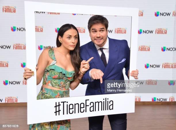 Zuria Vega and Daniel Arenas at the Press Conference for new soap opera Mi Marido Tiene Familia at Univision Studios on August 21 2017 in Doral FL
