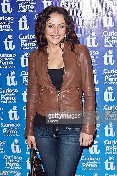 Zuria Vega pose for a photo before the presentation of the play El Curioso Incidente del Perro a Media Noche at the Insurgentes Theater on October 24...