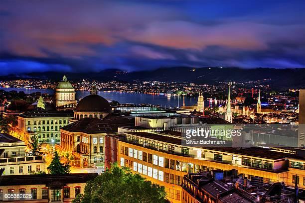 Zurich skyline at night, Switzerland