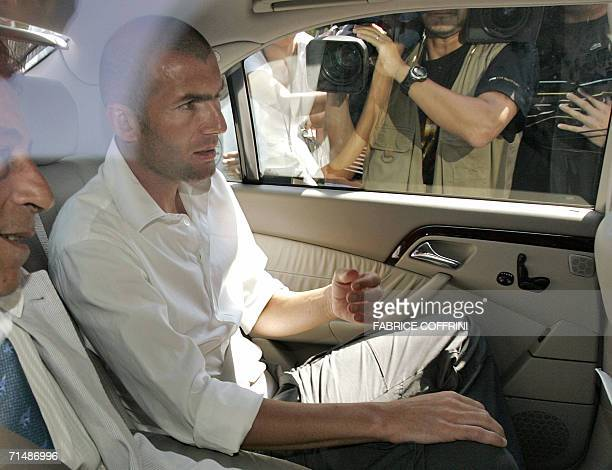 France's Zinedine Zidane leaves the FIFA headquarters 20 July 2006 in Zurich after he appeared before the disciplinary comission over his World Cup...