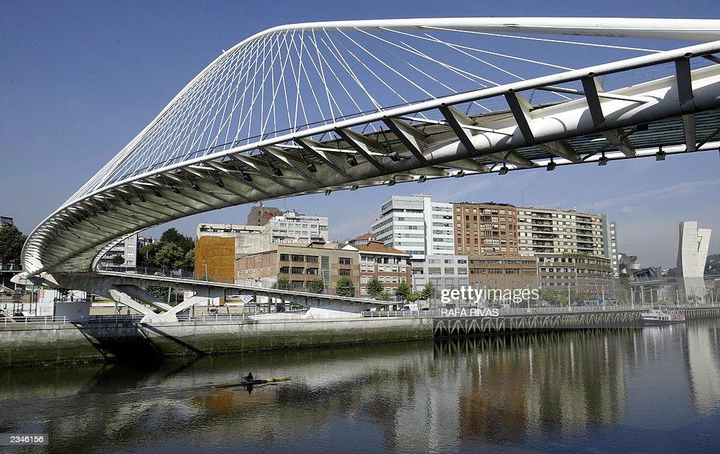 Zurizubi footbridge, designed by Spanish architect Calatrava, is located at the point of Abandoibarra area where Izosaki Towers will be built, in the Spanish northern Basque city of Bilbao, 30 July 2003. RAFA