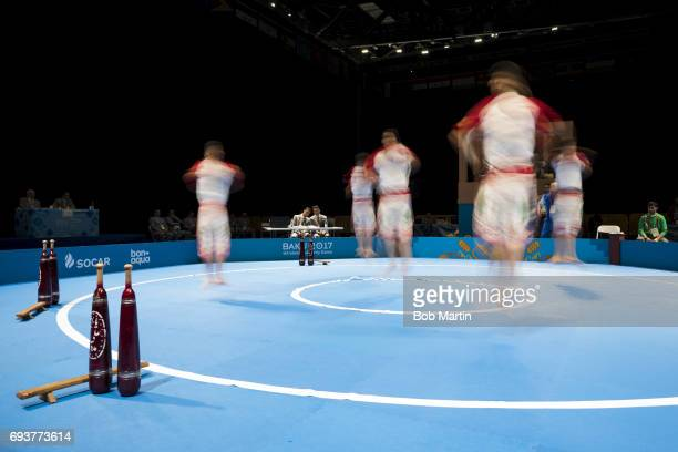 4th Islamic Solidarity Games Blurred view of Team Iran in action during Men's Team Skills Group competition at Baku Crystal Hall 2 Baku Azerbaijan...