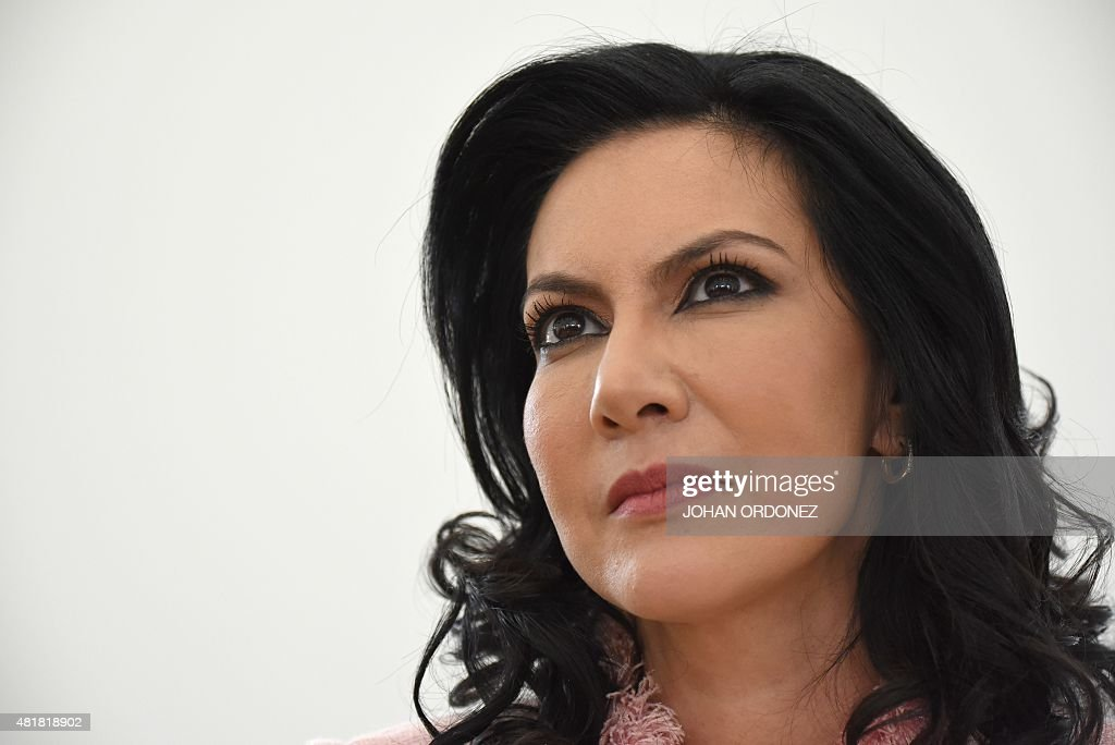 Zury Rios daughter of former Guatemalan dictator retired General Jose Efrain Rios Montt speaks during a press conference in Guatemala City on July 24...