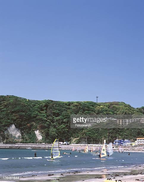 Zushi Beach, Shonan, Kanagawa Prefecture, Japan, High Angle View, Pan Focus