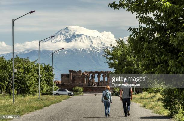 Zvartnots Cathedral off the background of Mount Ararat, Armenia, Caucasus.