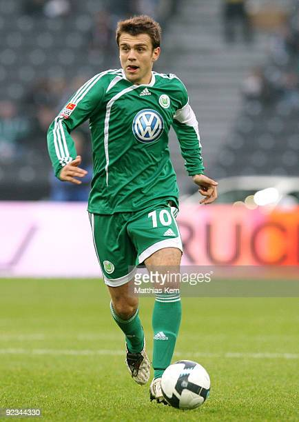 Zvjezdan Misimovic of Wolfsburg runs with the ball during the Bundesliga match between Hertha BSC Berlin and VFL Wolfsburg at Olympic Stadium on...