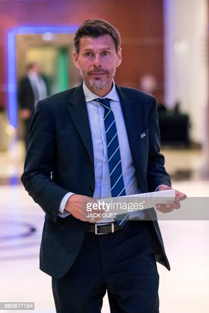 Zvonimir Boban Deputy SecretaryGeneral of FIFA leaves a meeting of the FIFA council in Manama on May 9 2017 A fivehour long meeting of the...