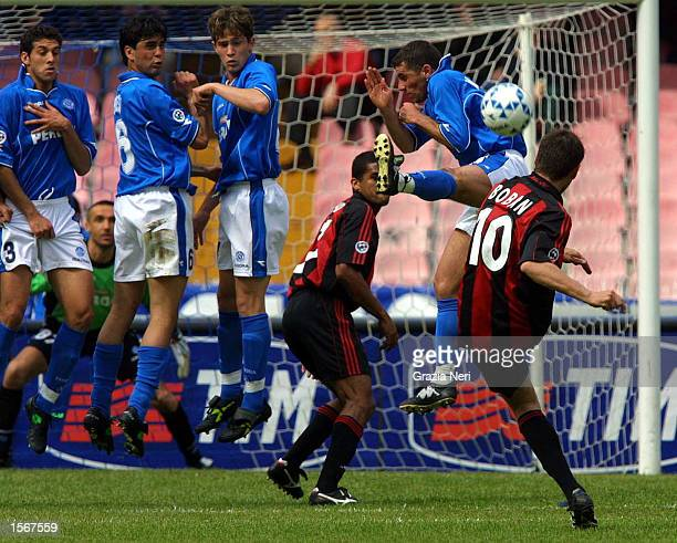 Zvonimir Boban of AC Milan takes a free kick during the Serie A 25th Round League match between Napoli and AC Milan played at the San Paolo Stadium...