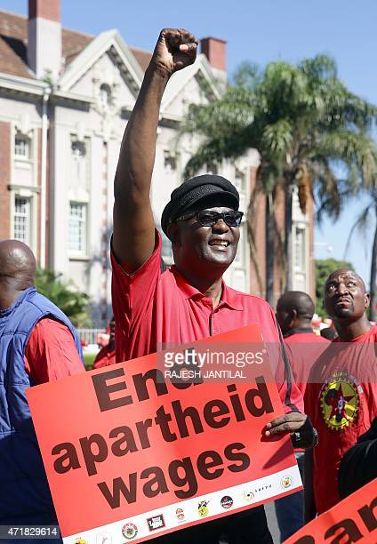 Zwelinzima Vavi expelled secretary general of the Congress of South African Trade Unions gestures at thousands of workers from eight unions taking...