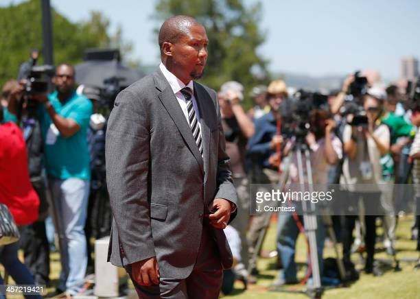 Zwelivelile 'Mandla' Mandela arrives at the unveiling of a statue of former South African president Nelson Mandela at the Union Buildings on December...