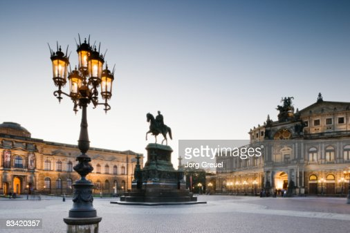 Zwinger Palace and Semper Opera House at dusk