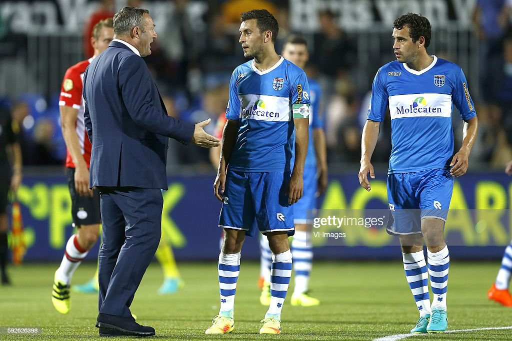 PEC Zwolle coach Ron Jans talks after the match Bram van Polen Dirk Marcellis during the Dutch Eredivisie match between PEC Zwolle and PSV at the...