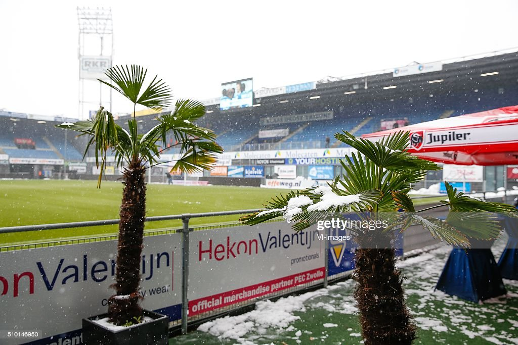 PEC Zwolle in de sneeuw during the Dutch Eredivisie match between PEC Zwolle and Feyenoord Rotterdam at the IJsseldelta stadium on February 14, 2016 in Zwolle, The Netherlands