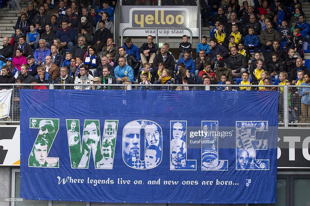 Zwolle Supporters during the Eredivisie Dutch League match between PEC Zwolle and PSV Eindhoven at the IJsseldelta Stadion on April 272014 in...