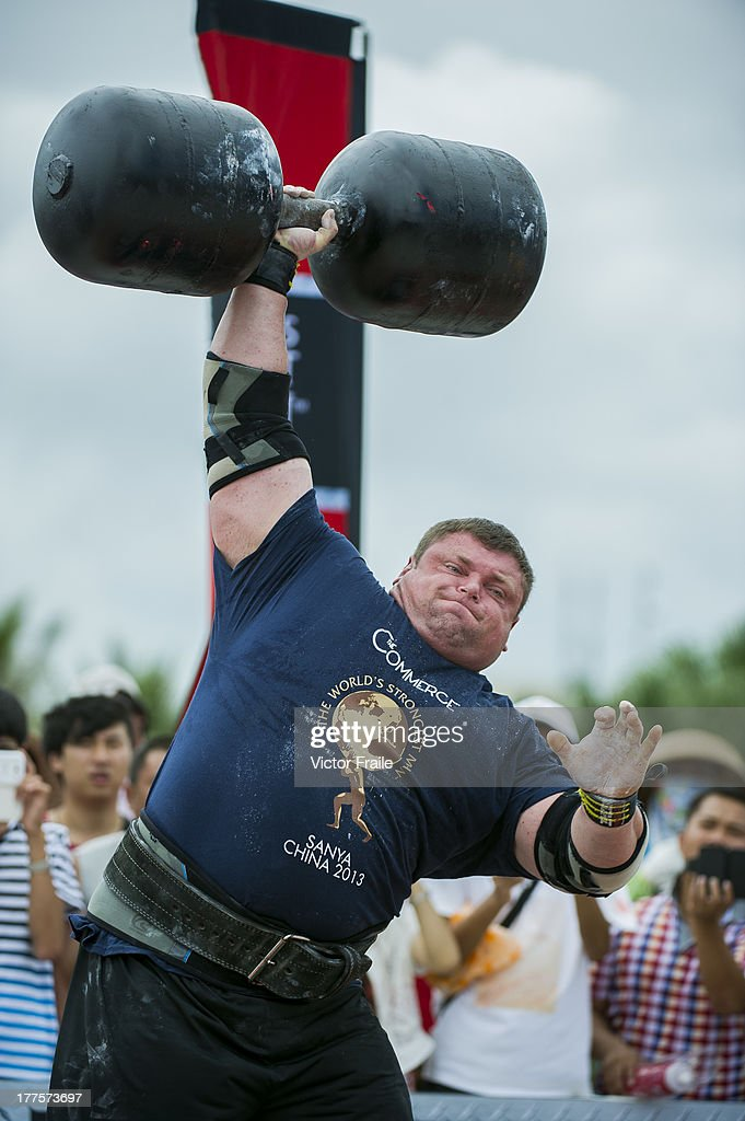 Zydrunas Savickas of Lithuania competes at the Circus Medley event during the World's Strongest Man competition at Yalong Bay Cultural Square on August 24, 2013 in Hainan Island, China.