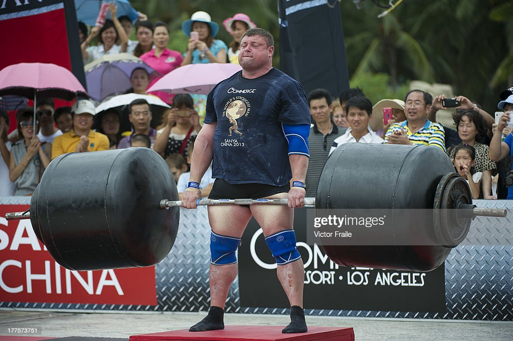 Zydrunas Savickas of Lithuania competes at the Deadlift for Max event during the World's Strongest Man competition at Yalong Bay Cultural Square on August 24, 2013 in Hainan Island, China.