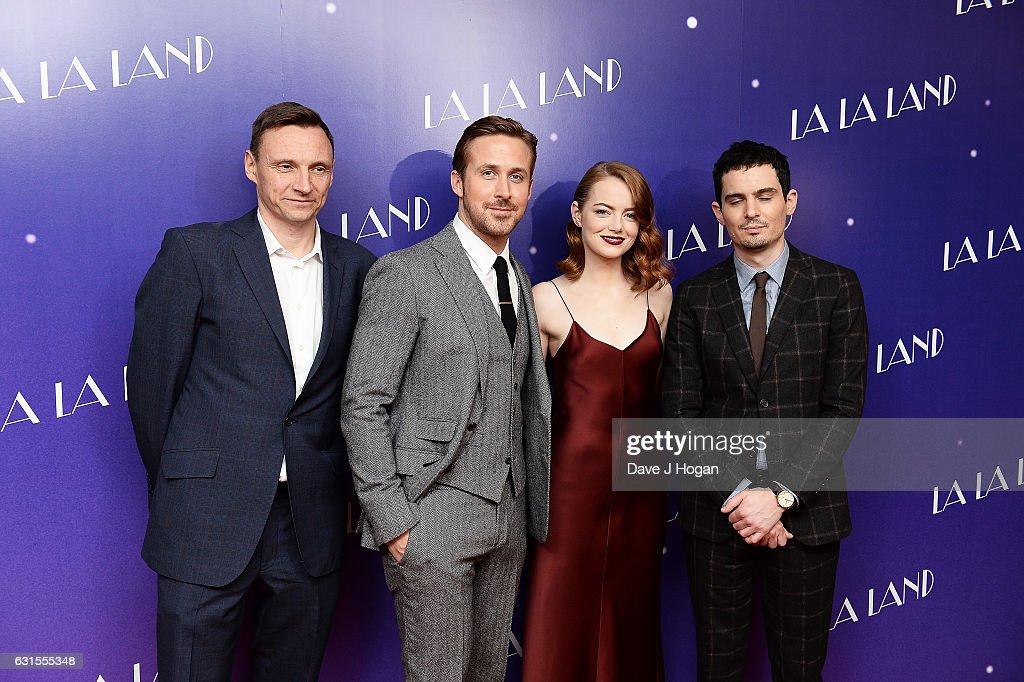 Zygi Kamasa, Ryan Gosling, Emma Stone and Damien Chazelle attend the Gala screening of 'La La Land' at Ham Yard Hotel on January 12, 2017 in London, England.