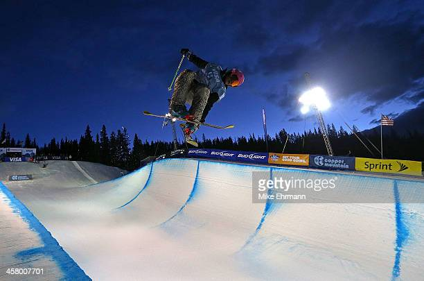 Zyre Austin practices before qualifying for the womens FIS Ski Freestyle Halfpipe World Cup at US Snowboarding and Freeskiing Grand Prix on December...