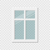 Traditional window frame. Window with shadow. Vector