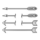 Graphic set of arrows isolated on white background. Vector tattoo design drawn in old school style. Coloring book page for adults and kids