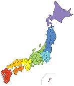 日本地図(地方別に色分け)