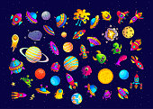 Space hand drawn cartoon vector illustrations set. Doodle  ufo, monsters, planets cliparts. Cute aliens characters. Cosmic collection. Fantastic galaxy color isolated design elements
