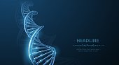 Abstract 3d polygonal wireframe DNA molecule helix spiral on blue. Medical science, genetic biotechnology, chemistry biology, gene cell concept vector illustration or background