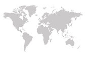 Vector world map in grey colors. Vector eps10