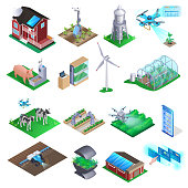 Smart Farm Isometric Element Set. Future Innovation Plant Industry. Robot Management for Seedlings Growing via Control Panel at Home. Agriculture Technology Equipment. Solar Panel, Drone, Wind Power.