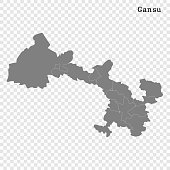 High Quality map of Gansu is a province of China, with borders of the divisions