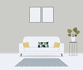 Modern minimalistic scandinavian style living room. Furniture for home interior: sofa, couch, cushions in cute pattern,carpet, table, monstera in pot. Indoor concept vector illustration