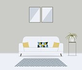 Modern minimalistic scandinavian style living room. Furniture for home interior: sofa, couch, cushions in cute pattern,carpet, table, сhlorophytum crested in pot. Indoor concept vector illustration