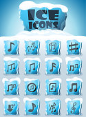 musical notes vector icons frozen in transparent blocks of ice
