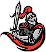 Vector Illustration of a Knight with a Sword Mascot Style.