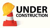 Yellow safety cap worker on red cone. Under construction concept. Vector illustration