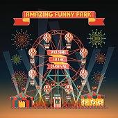 design elements of funny park vector illustrations