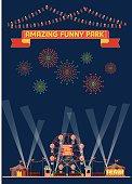 Design element of funny park carnival wallpaper vector illustration