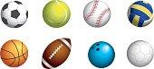 Obligatory sport balls set for soccer, tennis, baseball, volleyball, basketball, rugby, bowling and handball