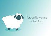 Kurban Bayramı Kutlama mesajı..Muslim community festival of sacrifice Eid-Ul-Adha greeting card with sheep..