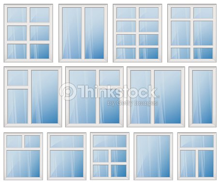 Window Frame Design Set Blue Glass Vector Art | Thinkstock