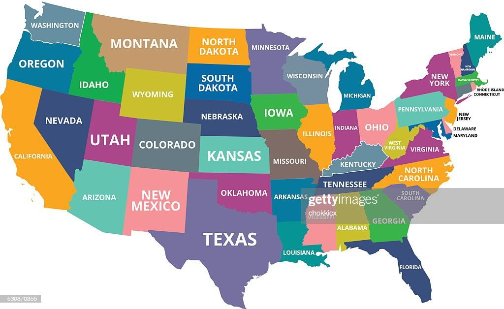 Usa Map With All States Vector Art Getty Images - Usa amap