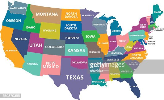 Colorful Usa Map Vector Art Getty Images - Iowa map usa
